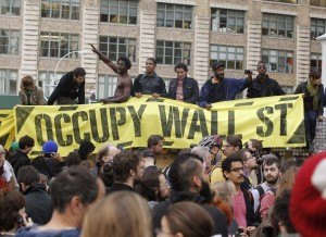 Occupy Wall Street protesters gather in Duarte Square in New York